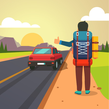 stopped: Hitchhiking road travel. Man with a big backpack stopped a ride by thumbing. Flat style vector illustration. Illustration