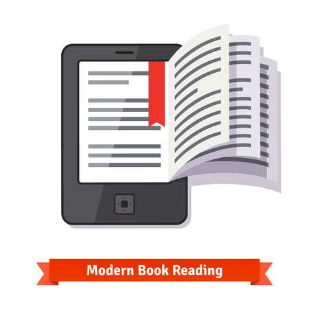 ereader: Ereader tablet pad concept with turning book pages. Flat style vector illustration isolated on white background.