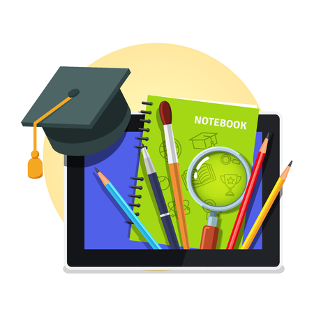 vector student: Modern college and university education concept. Student cap on tablet computer with sticking textbook, writing tools and magnifying glass. Flat style vector illustration isolated on white background