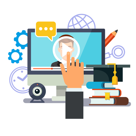 giáo dục: Giáo dục trực tuyến và tốt nghiệp. Webinar và khái niệm học tập hội thảo video. Màn hình chạm tay doanh nhân với phương tiện truyền thông giảng. Phong cách phẳng minh hoạ vector cô lập trên nền trắng.