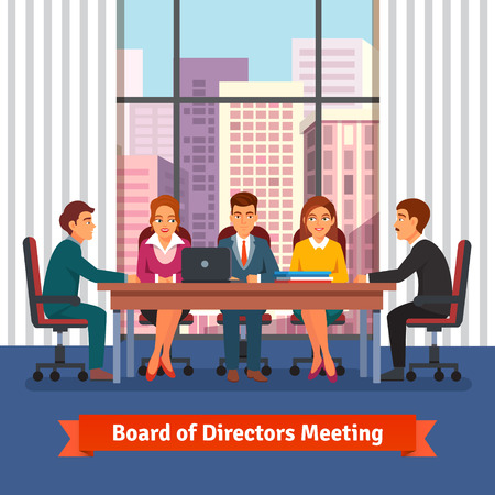 negotiation business: Directors board business meeting in a big conference room with big window on the top floor of skyscraper. People in chairs at the desk talking, brainstorming and negotiating. Flat vector illustration.