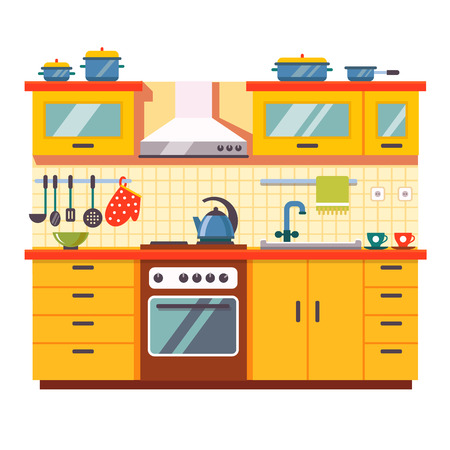 kitchen cabinets: Kitchen wall interior. Flat style vector illustration isolated on white background.