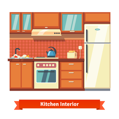 stove top: Kitchen wall interior. Flat style vector illustration isolated on white background.