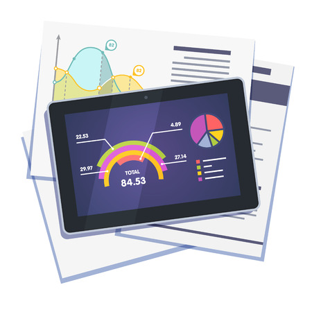integral: Statistical data abstract with graphs and charts on paper and tablet computer. Flat style vector illustration isolated on white background.