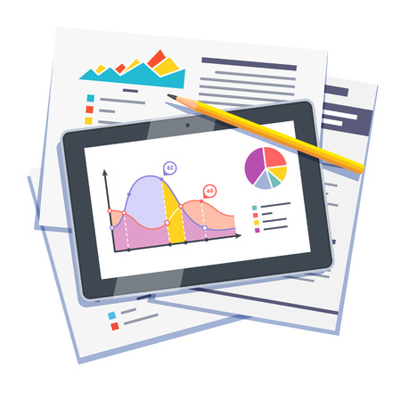 computer isolated: Statistical data abstract with graphs and charts on paper and tablet computer. Flat style vector illustration isolated on white background.