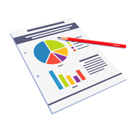 business report: Statistical data paper abstract with graphs and charts. Flat style vector illustration isolated on white background. Illustration