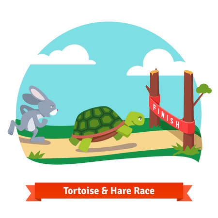 story: The Tortoise and the Hare. Turtle and rabbit racing together to win. Finish line red ribbon. Flat style vector illustration isolated on white background.