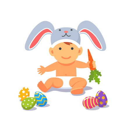 pasch: The Easter baby. Child toddler in the rabbit hat sitting on the floor handing carrot in the hand with painted eggs in front of him. Flat style vector illustration isolated on white background.