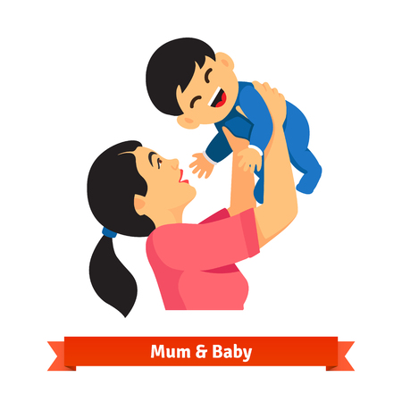 mom: Asian mum holding up her baby in hands over head. Playing with child toddler. Parenting. Flat style vector illustration isolated on white background.