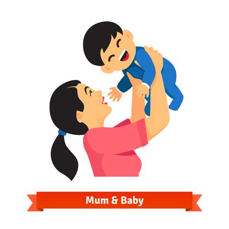 amarillo y negro: Madre asiática que sostiene a su bebé en las manos sobre la cabeza. Jugar con el niño hijo. Parenting. Ilustración vectorial de estilo plano aislado en fondo blanco.