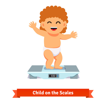 kilos: Happy smiling baby toddler in diaper standing and weighting on a scales. Flat style vector cartoon illustration isolated on white background.