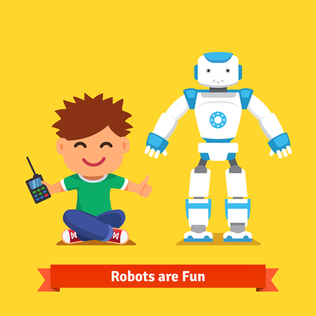 computer science: Smiling little boy sitting on the floor playing with remote controlled humanoid robot standing next to him. Flat style vector illustration isolated on white background.