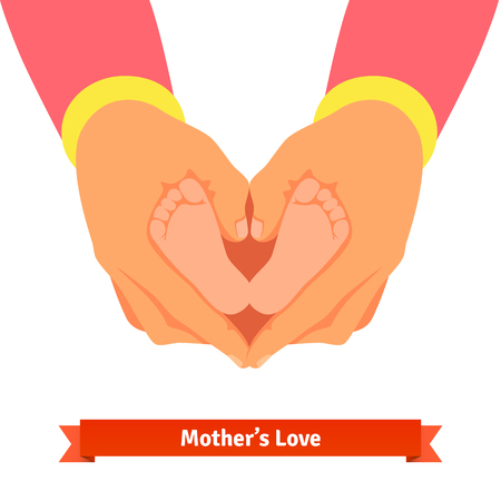 mother holding baby: Mother hands holding newborn baby foots in shape of heart. Parents child care and love concept. Flat style vector cartoon illustration isolated on white background.