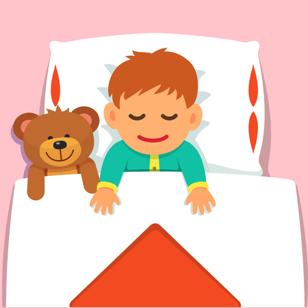 Baby boy sleeping with his plush teddy bear toy. Flat style vector cartoon illustration isolated on pink background. Vectores