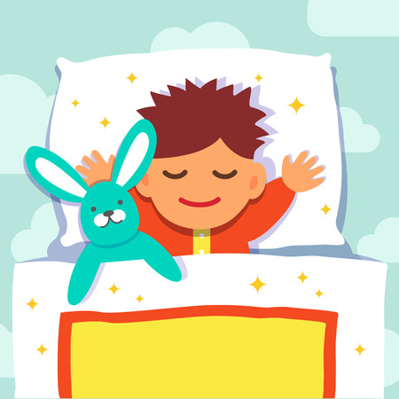 night sky: Baby boy sleeping with his rabbit toy. Flat style vector cartoon illustration isolated on white background. Illustration