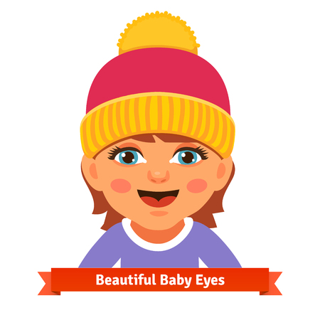 all caps: Newborn baby girl in pink hat smiling and watching with her blue eyes. Flat style vector cartoon illustration isolated on white background.