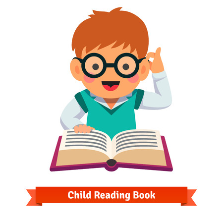 reads: Small boy playing in glasses reading book. Flat style vector cartoon illustration isolated on white background. Illustration