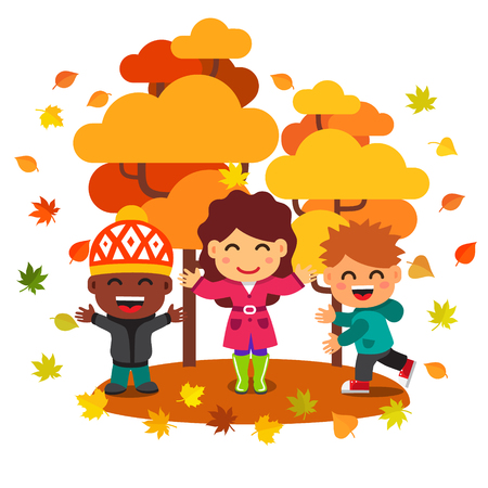 cartoon friends: Mixed race kids having fun playing under the trees in golden autumn park with falling leaves. Flat style vector cartoon illustration isolated on white background.