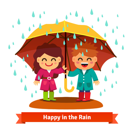 one child: Boy and girl standing in the rain under one big umbrella. Child love concept. Flat style vector cartoon illustration isolated on white background.