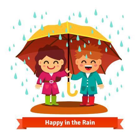 sotto la pioggia: Ragazzo e ragazza in piedi sotto la pioggia sotto un grande ombrello. Bambino concetto di amore. Stile piatto cartoon illustrazione vettoriale isolato su sfondo bianco. Vettoriali