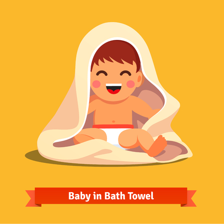 child: Happy baby boy toddler wrapped in bath towel. Flat style vector cartoon illustration isolated on white background.