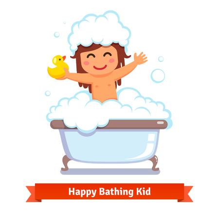 Boldog kislány figyelembe fürdő, sárga kacsa játék és sok-sok hab buborék. Lapos stílus vektor rajzfilm illusztráció elszigetelt fehér háttérrel.