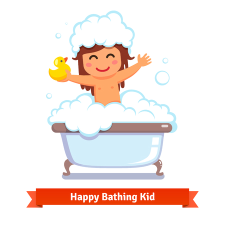 cartoon bathing: Happy baby girl taking bath with yellow duck toy and lots of foam bubbles. Flat style vector cartoon illustration isolated on white background.
