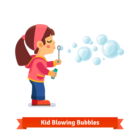 Cute little girl blowing soap bubbles through wand and holding bottle with solution in other hand. Flat style vector cartoon illustration isolated on white background.