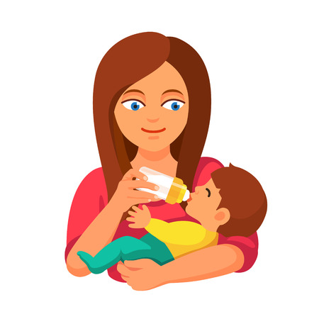 teteros: Madre sosteniendo y alimentando al bebé con la botella de leche. Estilo Flat ilustración de dibujos animados de vectores aislados sobre fondo blanco.