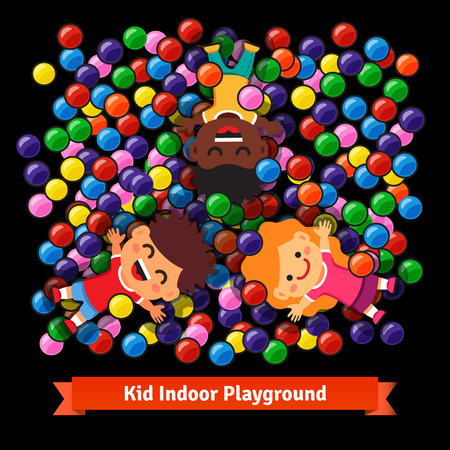 high angle view: Kids playing together at the indoor playground pool of colorful plastic balls.Flat style vector cartoon illustration isolated on black background.