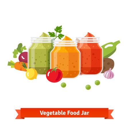 퓌레: Vegetable food jars. Baby puree. Flat style vector cartoon illustration isolated on white background.