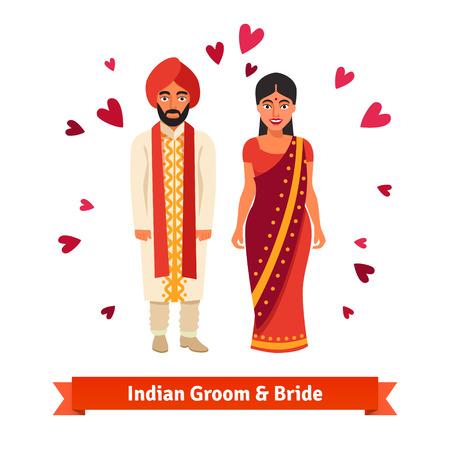 Boda india, la novia y el novio en trajes nacionales. Los hindúes de pie rodeado de símbolos de corazones de amor. Ilustración vectorial de estilo plano aislado en fondo blanco. Ilustración de vector