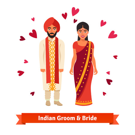 bride and groom illustration: Indian wedding, bride and groom in national costumes. Hindu people standing surrounded by hearts symbols of love. Flat style vector illustration isolated on white background.