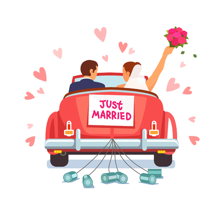 Newlywed couple is driving a vintage convertible car for their honeymoon with just married sign and cans attached. Flat style vector illustration isolated on white background. Иллюстрация