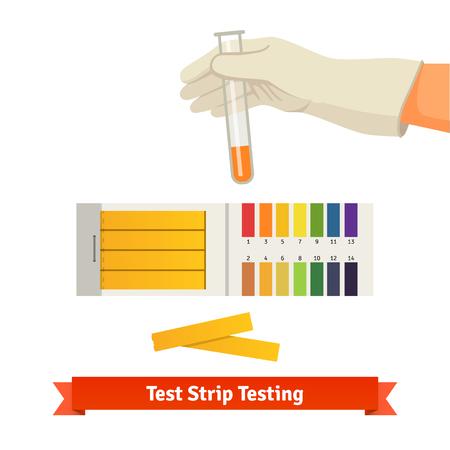 prueba de embarazo: Mano que sostiene el tubo de ensayo con indicador de pH comparando el color a escala y tiras de tornasol para medir la acidez. Ilustración vectorial de estilo plano aislado en fondo blanco.