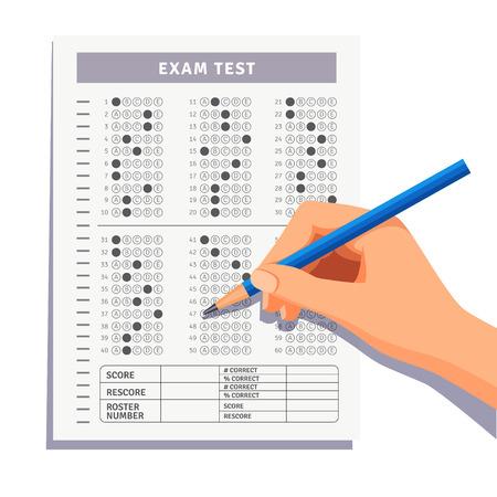 evaluacion: Estudiante rellenar respuestas a la prueba del examen hoja de respuestas con lápiz. Ilustración vectorial de estilo plano aislado en fondo blanco.