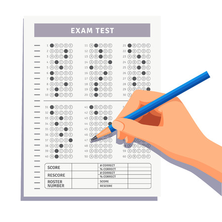 Student filling out answers to exam test answer sheet with pencil. Flat style vector illustration isolated on white background. Vettoriali