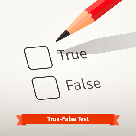 lapiz y papel: Prueba falsa Verdadero o encuesta. Lápiz rojo por encima de la primera casilla en el papel listo para marcar una respuesta. Ilustración vectorial de estilo plano aislado en fondo gris.