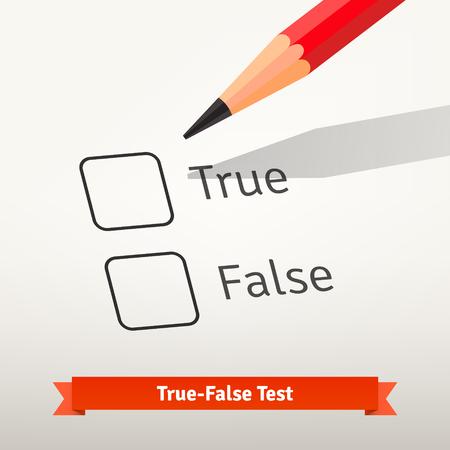 Verdadero falso prueba o encuesta. Lápiz rojo sobre la primera casilla de verificación en el papel listo para marcar una respuesta. Ilustración de vector de estilo plano aislado sobre fondo gris.