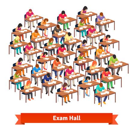 Gran sala de examen aula llena de estudiantes en sus escritorios para escribir una prueba. Ilustración vectorial de estilo plano aislado en fondo blanco.