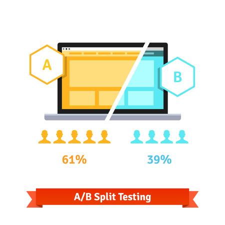 AB split testen. Laptop scherm met twee versies van een webpagina met verschillende statistische verdeling van de positieve feedback. Vlakke stijl vector illustratie geïsoleerd op een witte achtergrond. Vector Illustratie