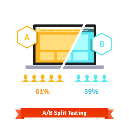 tests: AB split testing. Laptop screen showing two versions of a webpage with different statistical distribution of positive feedback. Flat style vector illustration isolated on white background.