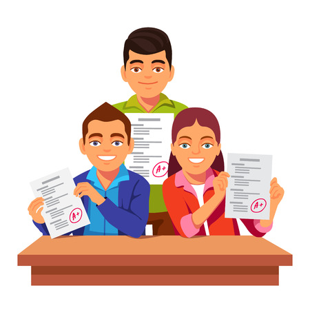 Group of students holding and showing off their exam test papers with perfect A results. Flat style vector illustration isolated on white background.