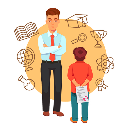 Boy son holding a plus grade exam test paper behind his back wanting to surprise his father. Parenting and education concept with icons. Flat style vector illustration isolated on white background. Illustration