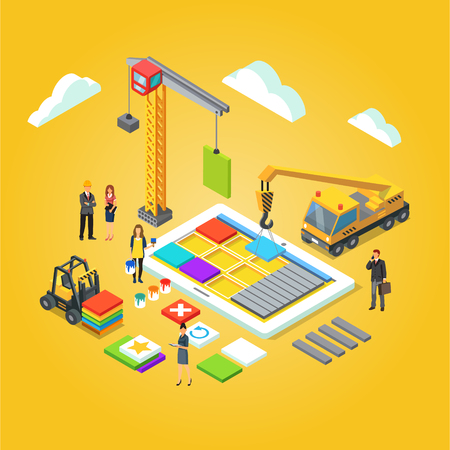 creation kit: Team of app engineers and their leader building mobile app ux interface. Application development concept. Flat stylised 3d isometric vector illustration isolated on yellow background.