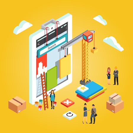Team van app ingenieurs en hun leider gebouw mobiele web app UX interface. Applicatie-ontwikkeling concept. Platte gestileerde 3d isometrische vector illustratie geïsoleerd op een gele achtergrond.