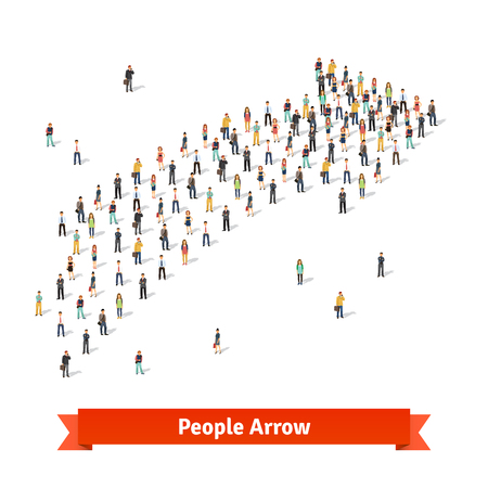 Large group of people standing together in shape of an arrow pointing at right direction. Flat style vector illustration isolated on white background. Illustration