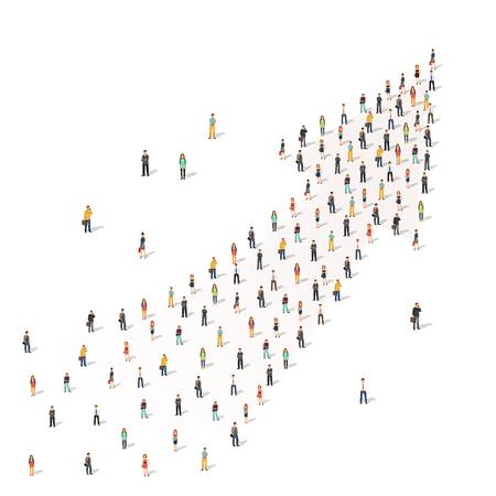 矢印の形で一緒に立って人々 の大規模なグループ。フラット スタイル ベクトル イラスト白背景に分離されました。