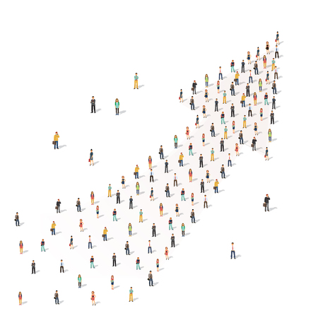 Large group of people standing together in shape of an arrow. Flat style vector illustration isolated on white background.