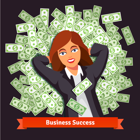 woman lying down: Business woman in suite lying on a bed pile of green dollar cash. Success and wealth concept. Flat style vector illustration isolated on black background.